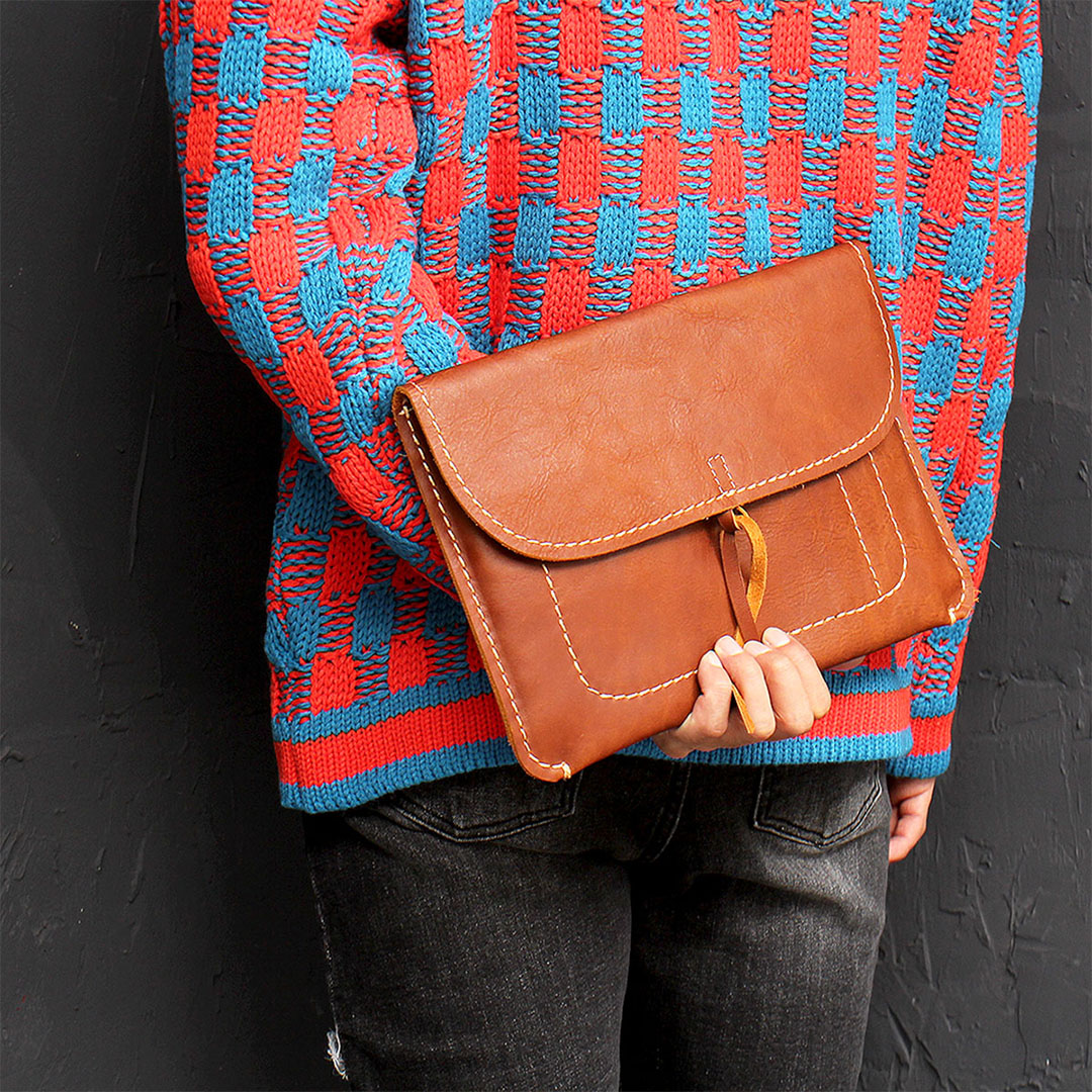 Handmade Brown Leather Clutch Bag 695