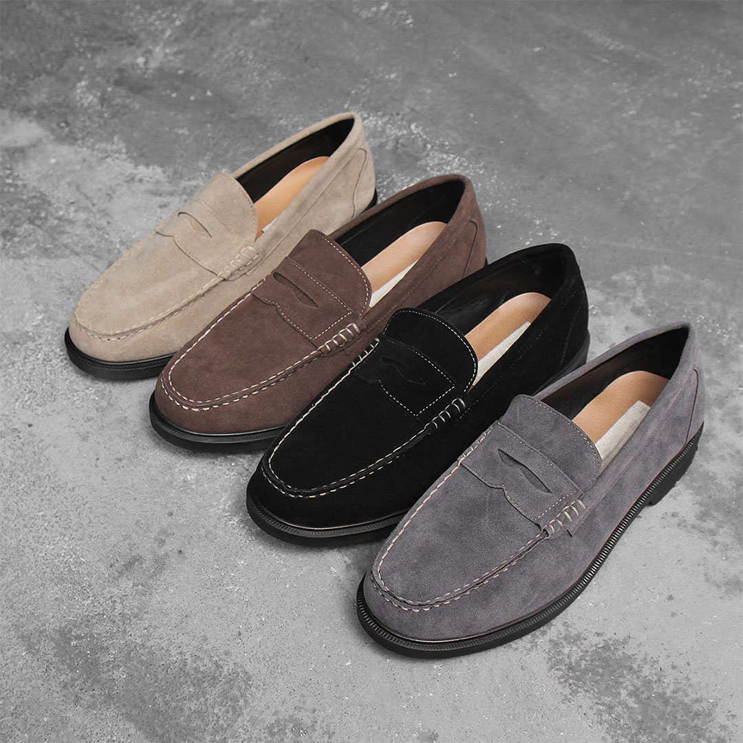 Synthetic Suede Leather Moc toe Full Strap Loafer 722