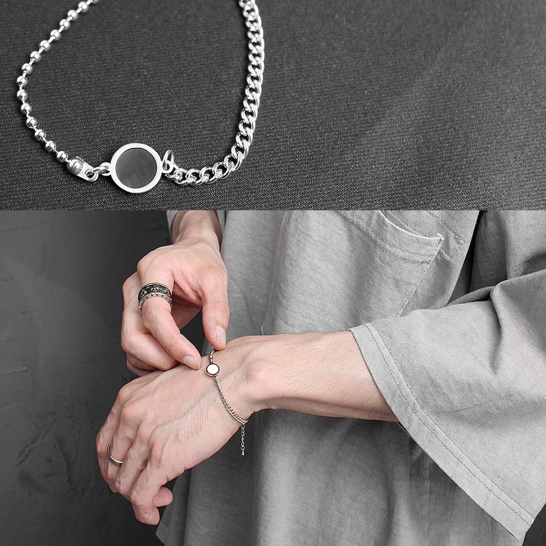 Black White Pendant Chain Bracelet 1305
