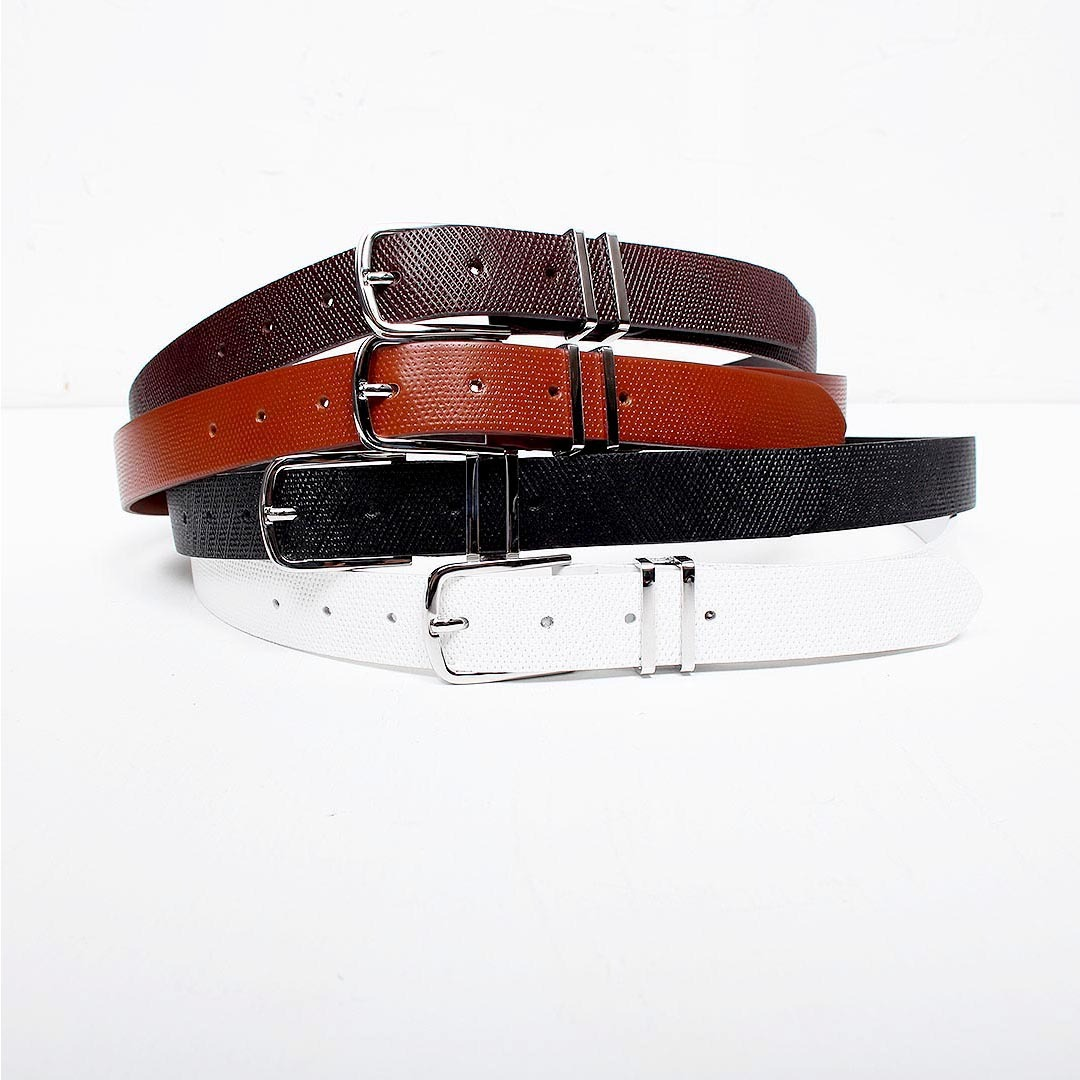 Double Buckle Coated Cowhide Leather Belt 1469