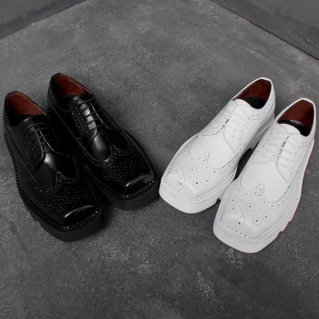 Handmade Square Toe Wing Tip Leather Oxfords 1473